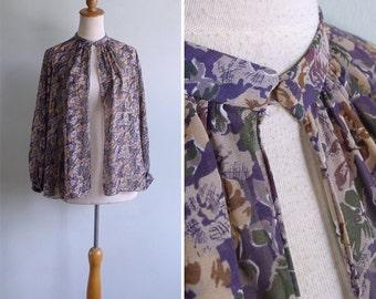 Vintage 70's Bohemian Floral Chiffon Button Cape Blouse Top S M or L