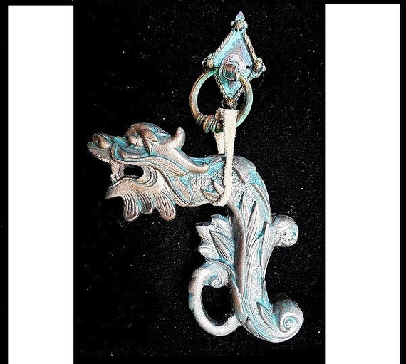 Steampunk dragon door knocker or wall hanging detailed gothic - Gothic door knockers ...