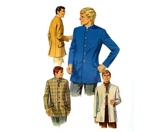 1960s Mens Lined Nehru Jacket Pattern Fitted Mod Beatles Simplicity 7926 Chest 36 Vintage Sewing Pattern
