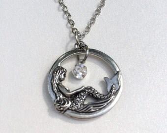 Rhinestone Mermaid Necklace Christmas Gift April Birthstone Mermaid Jewelry Friendship Gift Mom Sister Women's Gift