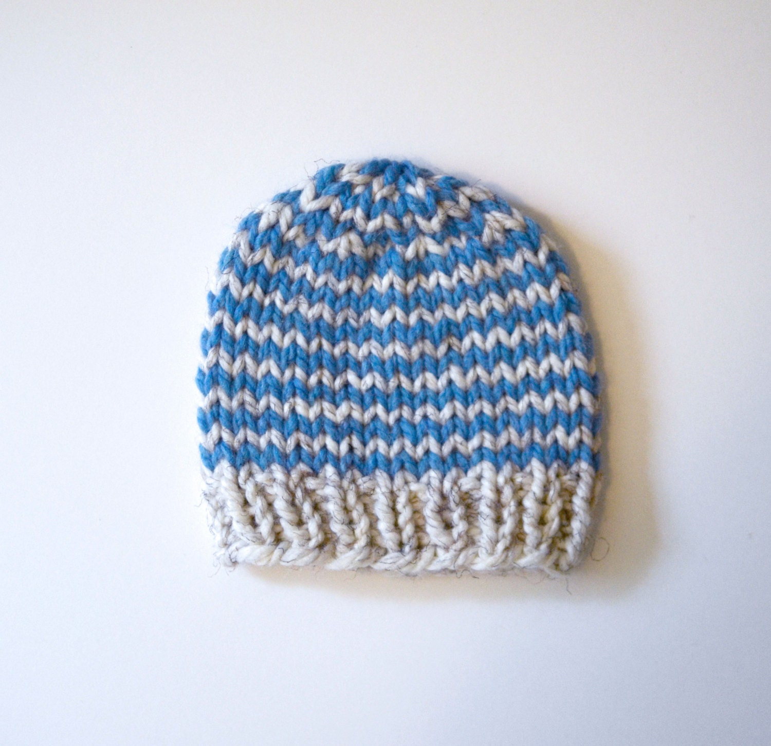 Knitting Chunky Hat : Striped baby hat chunky knit beanie hand knitted