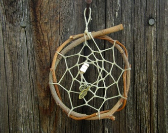 Willow and Heishi Shell Dreamcatcher - Spiral and Feather Dreamcatcher