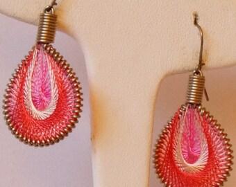 String Art Earrings / Thread Earrings / Pink Silk Thread Earrings / Thread Art Earrings / Fashion Earrings / Casual Earrings