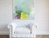 """ABSTRACT GICLEE, large print up to 40x40"""" of modern Painting, express shipping, Abstract Art, Acrylic Painting, aqua, yellow, white"""