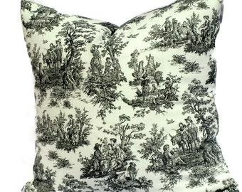 20x20 Pillow Cover, Decorative Pillow, Pillow Cover, Accent Pillow, Toile Pillow, 18x18 20x20 22x22 or 14x20 Lumbar Pillow, Black and White