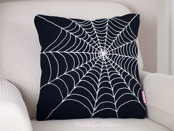 Halloween Spider Web - Black - Spider Web - Pillow Cover 18x18