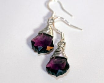Amethyst Baroque Swarovski Crystal, Sterling Silver Wire Wrapped, Sterling Silver French Ear Wires