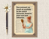 Motivational Greeting Card, Encouragement Card, Love, Handmade Card, Buddha Quote, Dictionary Page Art, 5 x 7