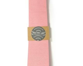 Pink necktie - Wedding Mens Tie Skinny Necktie organic cotton- Laid-Back necktie