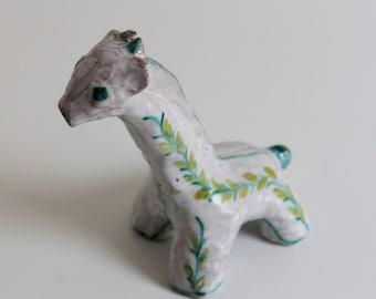 Vintage Mid Century Signed Glazed Ceramic Giraffe Sculpture