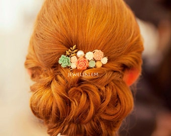 Wedding Hair Comb Mint Green Coral Pink Romantic Chic Modern Victorian Peach Blush Mint Bridal Headpiece Floral Hair Slide Bridesmaid Gift