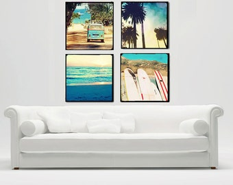 Surf Art Canvas Wall Art Set, Surfer Wall Art Large Canvas, California Beach Photography, Ocean, Palm Tree, Surfboards, VW Bus, Home Decor