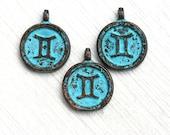 1pc Gemini charm, Zodiac charm, Patina on copper, Horoscope, Astrology, Zodiac sign, Greek beads, 15mm, Lead Free - F333