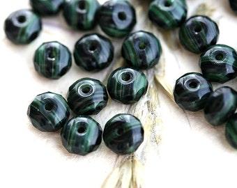 Malachite green beads, dark green czech glass beads, rondels, gemstone cut, fire polished, rondelle - 4x7mm - 25pc - 2046