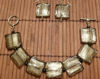 Smokey Gray, Square, Dichroic Glass Bracelet & Earring Set