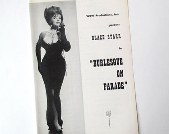 Blaze Starr Burlesque Striptease Show, 1950s Brochure, stripper, collectible, black and white