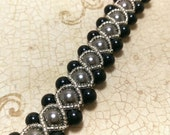 The Amanda- Crystal Black and Black Swarovski Crystal Pearl Right Angle Weave Braided Bracelet with Seed Bead Overlay