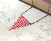 The Heather- Coral Pink Seed Bead Chevron Boho Antiqued Copper Necklace