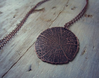 Cross Section Pendant - Etched Copper Tree Rings Necklace