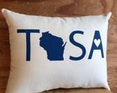 Tosa Pillow - Wauwatosa / Milwaukee, Wisconsin, Beer, Brew City, Throw pillow, Cotton pillow