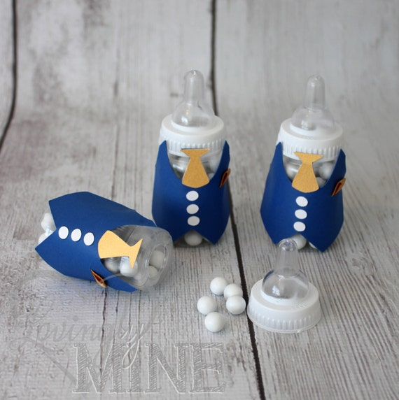 baby shower favors tuxedo baby bottles in royal blue and gold set