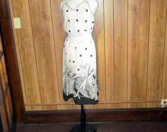 On Sale-CLASSY Black and White POLKA DOT Floral Dress with Piping