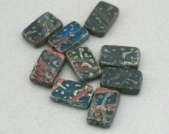 Czech Glass Beads 6pcs blue, red rectangle Picasso 12X18mm JB11026
