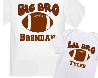 2 Big Brother Football Shirts Set Siblings Little Brother T-shirts