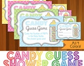 Instant Download Printable Candy Guessing Game, Baby Shower Candy Guess Game, Boy Girl Unisex Party Game, Gender Neutral, 4 Colors, M & M