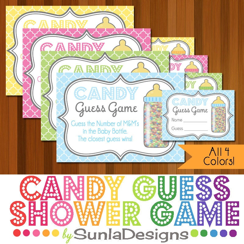Candy Baby Shower Game: Instant Download Printable Candy Guessing Game Baby Shower