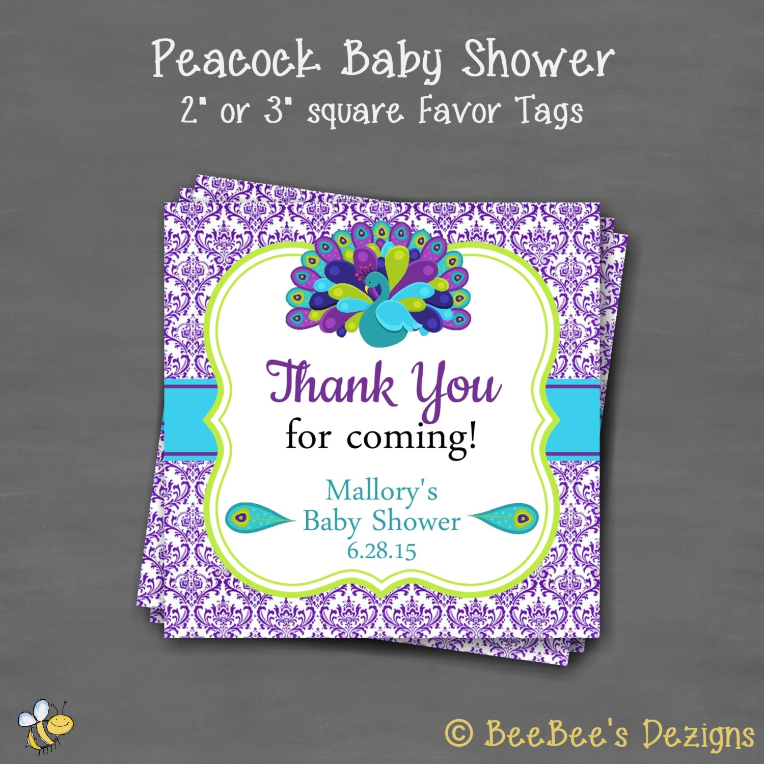Peacock baby shower favor gift tag sticker label square tag custom printable purple teal for Shower favor tag