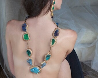 "Sea Blue and Green Minerals- rough cut stones-Long, ""Statement Necklace""- by Pauletta Brooks Wearable Art"
