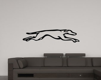 Running Greyhound Racing Dog Wall Decal (Many sizes and colors available)