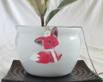Red Fox Necklace - Fox Jewelry - Happy Animal - Handmade Jewelry - One Of A Kind - Fox Lover Art - Little Fox - Chibi Fox Jewelry - Kawaii