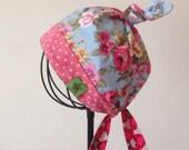 Little Girl REVERSIBLE Kerchief Summer Hat Bandana Headband Headscarf bib Garden Scarf Head Wrap