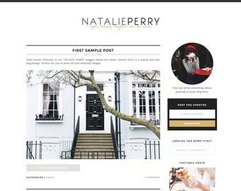 "Wordpress Theme Responsive Blog Design ""Natalie Perry"" - Cute and gold"