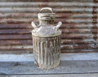 Antique Metal Fuel Can The ATLANTIC Refining Company ElliSCO Industrial Metal Chippy White Paint Rusty Rusted Gas Station Service Station