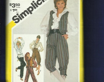 1980's Simplicity 5483 Ruffled Pirate Blouses & Knickers Size 10