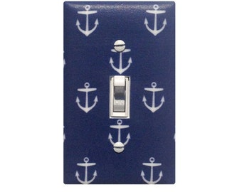 Navy Anchor Switchplate / Nautical Nursery Decor / Baby Girl Boy Gender Neutral Light Switch Plate Cover Girls Room / Blue White
