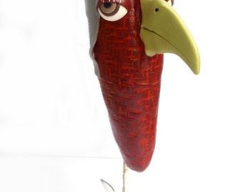Polymer Clay Art Doll Bird Sculpture Home Decor Pilot OOAK