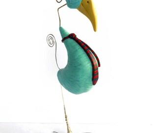 Polymer Clay Sculpture Bird Art OOAK Art Doll