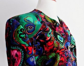 SALE :)))) FRANCE . Velvet Dreams . XL . Most Incredible Saturated Jewel Colors!  Prettiest Hearts Print Jacket Special Occasion Bright 1980