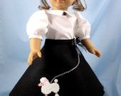 18 Inch Doll Clothes - Poodle Skirt, White Blouse, Hair Tie - 1950s Doll Clothes - Maryellen - fits American Girl dolls