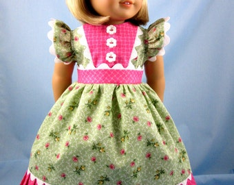 American Girl Doll Clothes - 18 Inch Doll Clothing fits American Girl - Dress and Hair Bow - Green and Pink French Country Print