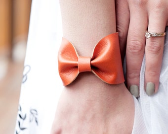 Bow Bracelet Cuff, Wide Wrist Cuff, Orange BowTie Faux Leather Vegan, Doctor Who Tie Bowtie Scarf Wide Tattoo Cover Covers Up, Gift Women