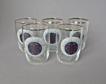 Five Retro Zentangle Circle Stained Glass effect Drinking Glasses - Retro Drinking Glasses