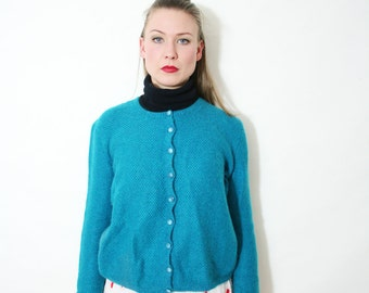 Vintage Hand Knit Teal Cardigan Sweater