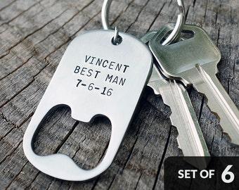 Set of 6 - GROOMSMEN GIFTS Personalized Bottle Opener Keychains - Wedding, Best Man, Groomsman