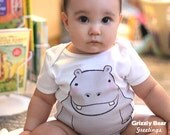Cute Baby Clothes - Hippo Onesie - Funny Onsies - Hippopotamus Baby Bodysuit