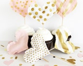 Party Toppers, Blush and Gold fabric cupcake toppers, pink and gold toppers, pink and gold wedding, blush and gold, pink party, toppers,pink